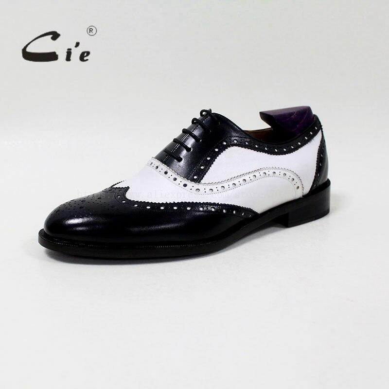 CIE круглый носок смешанных цветов белый и черный на заказ ручной работы из натуральной телячьей кожи мужские оксфорды blake/mackay craft OX-04-00