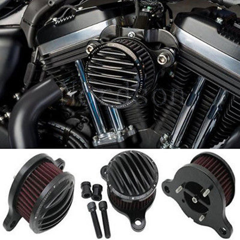 Black Motorcycle Parts Air Cleaner Intake Filter System Kit Motor Bike For Sportster XL883 XL1200 1991