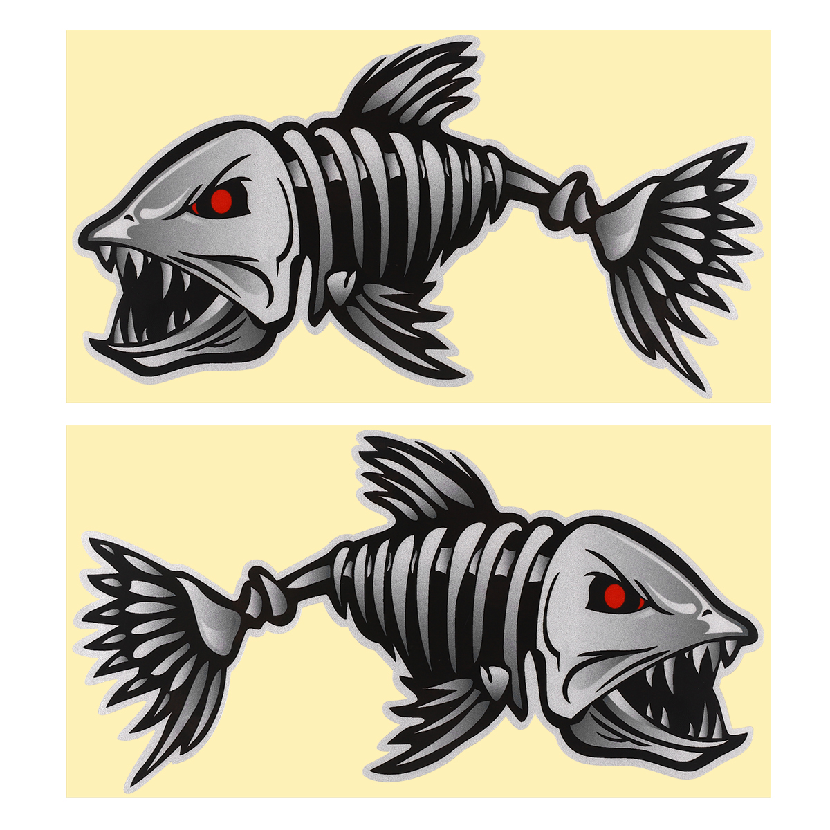 2pcs Evil Skeleton Fish Bones Vinyl Decal Sticker Kayak Fishing Boat Car Graphic