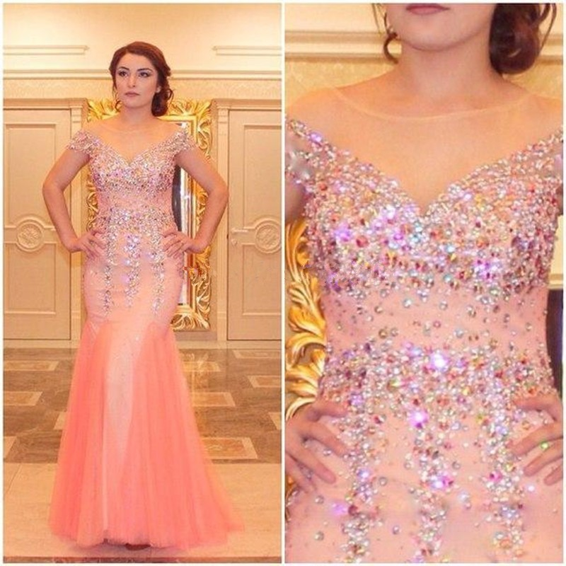 Pink Mermaid Cap Sleeve Illusion Neckline Tulle Prom Dress With ...
