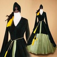 Новинка весны Для женщин Винтаж викторианской готики Ренессанс Вельветовое платье Хэллоуин ведьма вампир театральной костюм бальное праз
