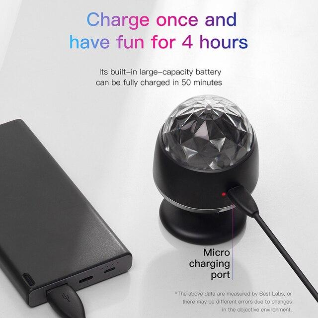 Baseus LED RGB Atmosphere Light Auto Interior Inner Car USB Charge Ambient Light DJ Music Sound Sensor Party Karaoke Lights 5