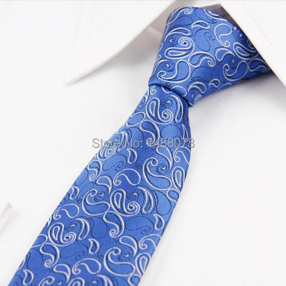 Gravata azul Paisley 2015 Nova Marca de Microfibra Tecido Jacquard Laços Dos Homens de Slim Skinny Estreitas Gravatás Paisley Azul Do Vestido de Casamento empate