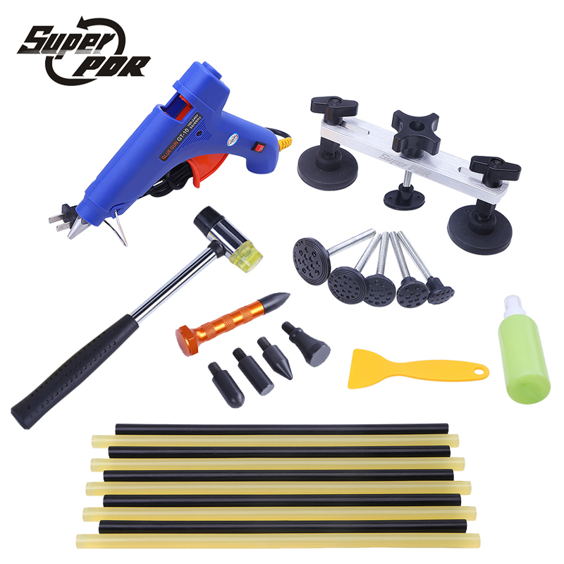 Super PDR tools pulling bridge glue gun dent repair tools kit 16pcs Paintless Dent removal Hand Tool Set High quality 5 second fix liquid plastic welding kit uv light repair tool glue kit