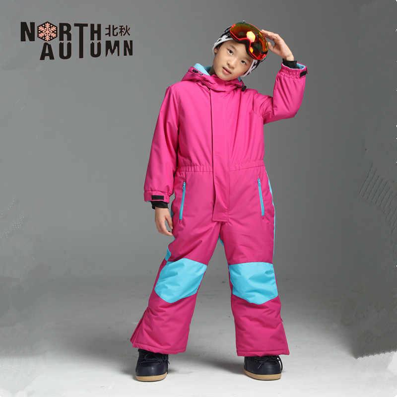 d1fe81cbe3 ... Winter Girl s Suits Ski Suit For Boys Waterproof Snow Romper Kids  Overall Windproof Skiing Jumpsuit Snowboard ...