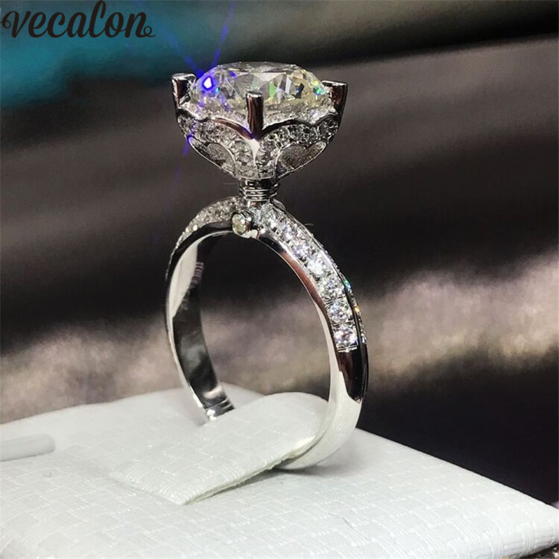 Vecalon Heart Flower 925 Sterling Silver ring 5A Zircon Cz Crystal Engagement wedding Band rings for women Bridal Jewelry Gift vecalon heart shape jewelry 925 sterling silver ring 5a zircon cz diamont engagement wedding band rings for women bridal gift