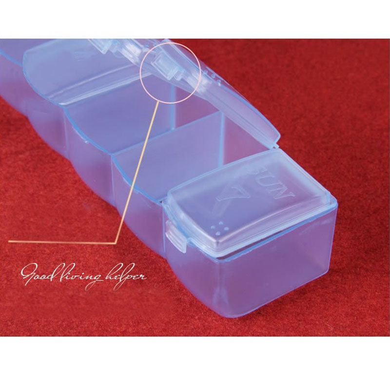Image 3 - Portable pill box 7 long strips transparent pill box 7 compartments storage box week pill multifunction household products QW104-in Storage Boxes & Bins from Home & Garden