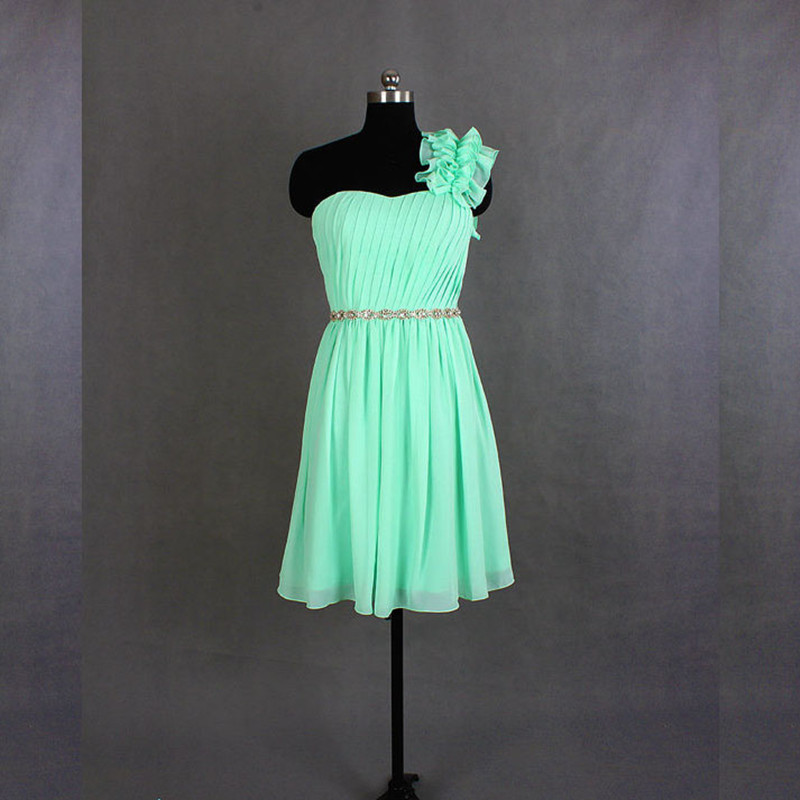 Short MInt   Bridesmaid     Dress   Chiffon   dress   One Shoulder Knee Length   Bridesmaid     Dress