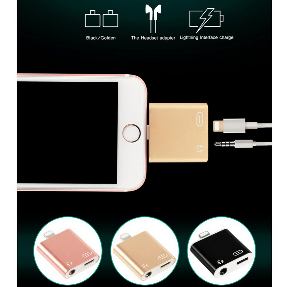 Metallo 2 in 1 8 Pin Fulmine a 3.5mm Jack Per Cuffie Audio + Adattatore Del Caricatore Del Telefono Connettore Splitter per Apple iPhone 7 7 Plus