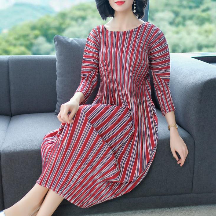 Print streep slanke plaid jurk lente 2019 nieuwe middellange en lange stijl temperament potlood jurk gratis verzending - 3