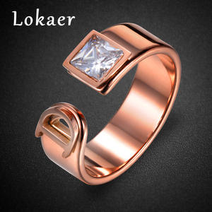 Lokaer Fine-Rings Jewelry Letter Mosaic Classic Stainless-Steel Cubic-Zirconia Women