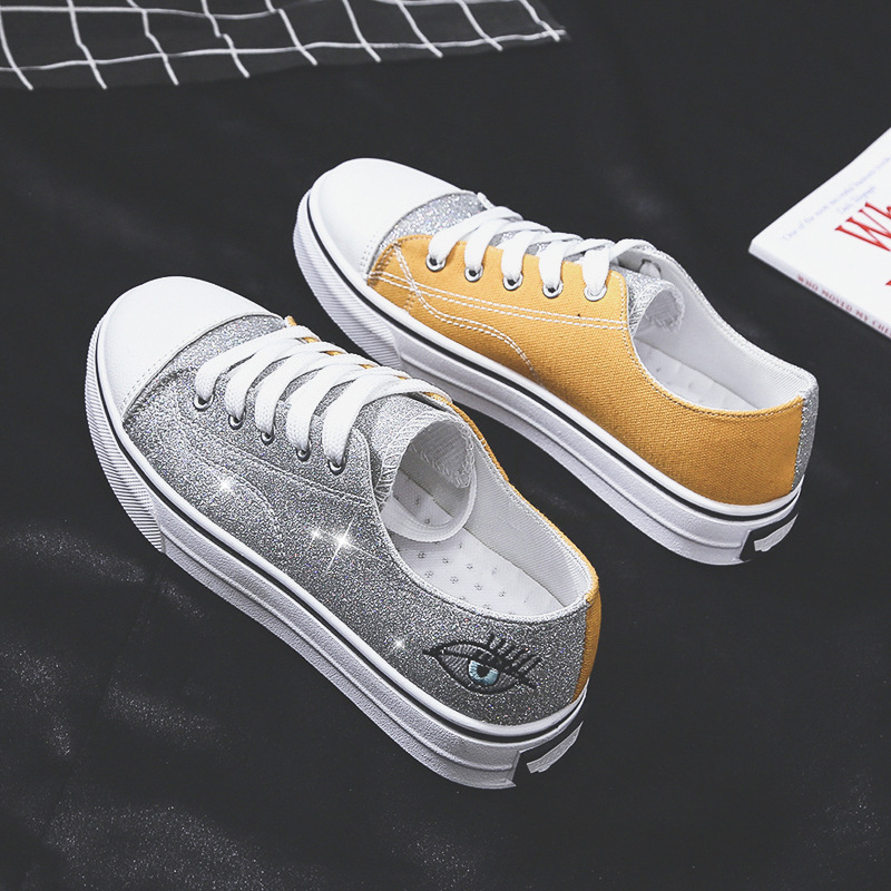 Fashion Women Canvas Shoes Summer New Flat Casual Shoes Woman Big Size 36-42 Bling Mixed Colors Sneakers Students Shoes Girls
