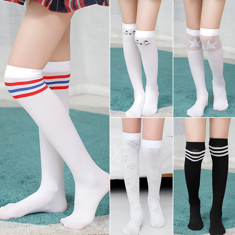 White School Girls Socks Velvet Knee High Long Socks Cartoon Star Heart Stripe Design Kid Black Princess Socks Kniekousen Meisje