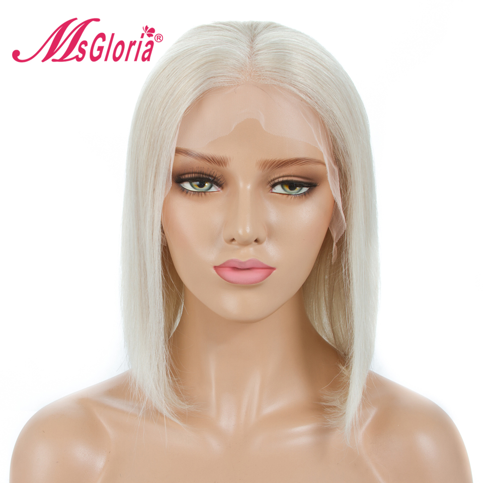 Real Blonde Color 60# Glueless 13*4 Lace Front Human Hair Wigs Pre Plucked Middle Part Bleached Knots Bob Human Hair Wigs