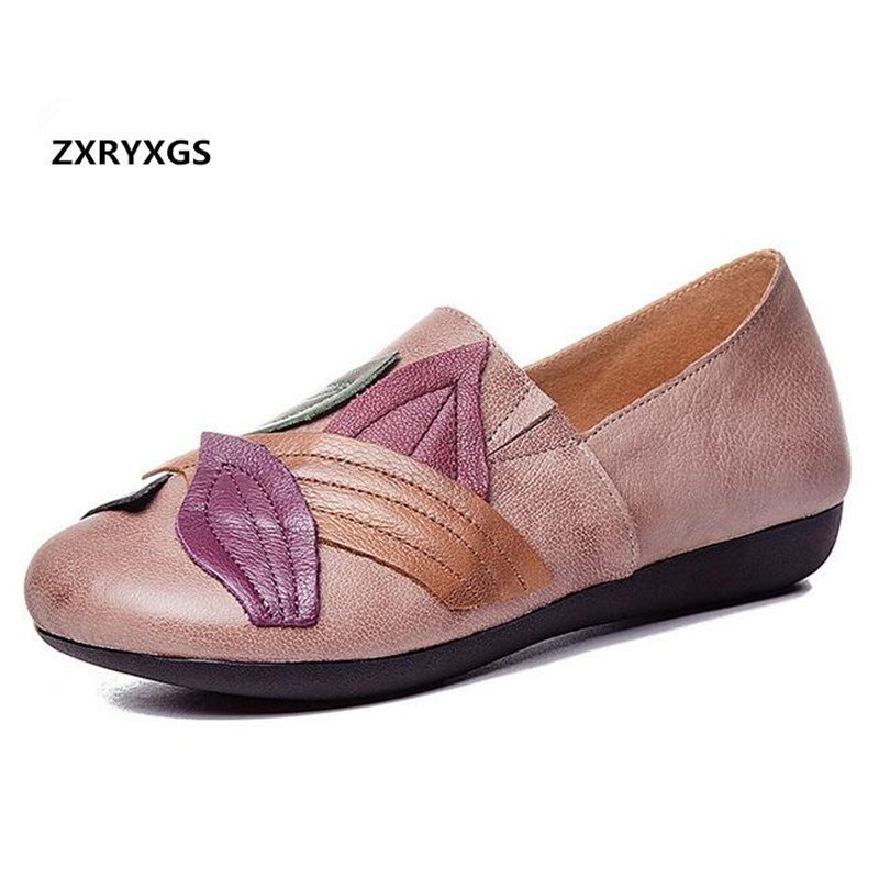 ZXRYXGS Brand Shoes Woman Spell Colors Fashion Shoes Women Flat Shoes 2018 New Autumn Soft Cowhide Leather Shoes Casual Flats mycolen 2018 spring autumn sports shoes korean leather women s new small white shoes new fashion cowhide shoes women casual
