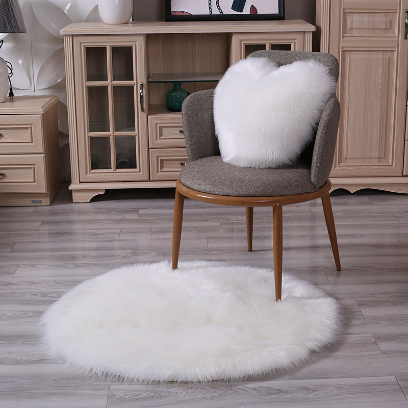 Fluffy Round Rug Carpets Floor Rug For Living Room Bedroom Mats Dining Home Decor Table Hallway Artificial Wool Washable Carpet