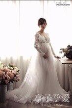 Средства ухода за кожей для будущих мам подставки фотографий беременных женщин Благородный длинный белый элегантный свадебное платье