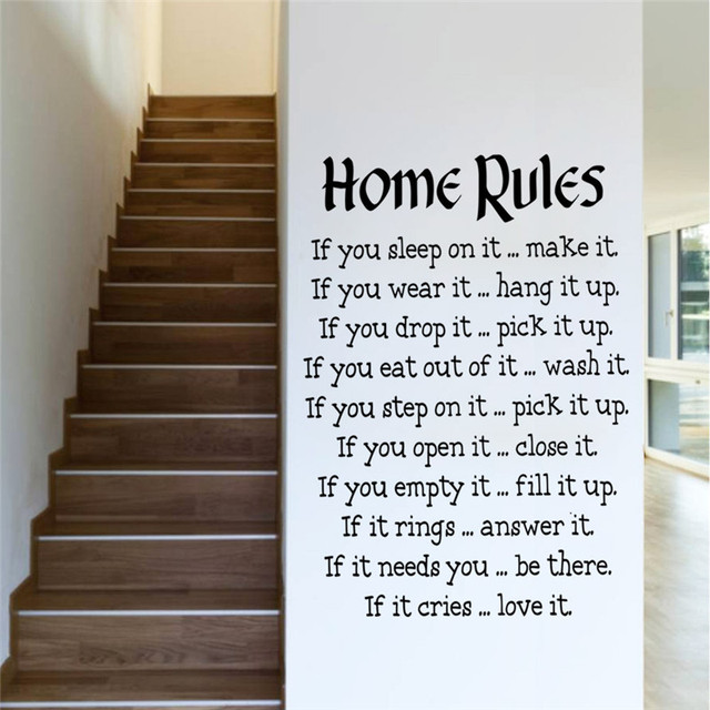 Creative Quote Wall Decal 5787 DIY Vinyl Home Rules For Living Bedroom Kids Room