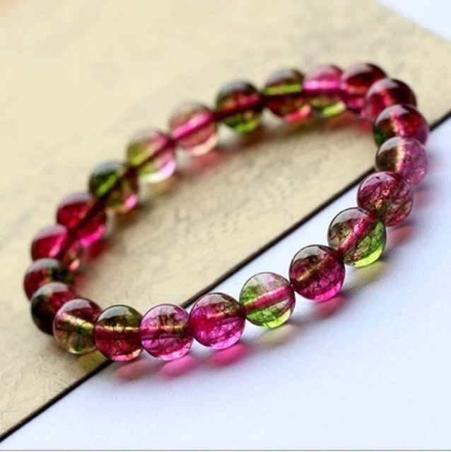 8 Mm Natural Ice Watermelon Crystal Colour Single Circle Korean Bracelet Taobao Best Ers Fund Hand