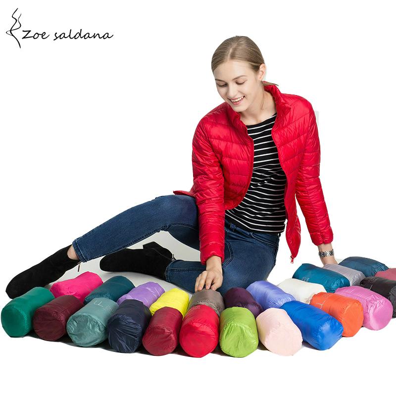 Zoe Saldana 2018 Ultra Light Down Coat Women Slim Parkas Candy Color Long Sleeve Thin Winter Jacket Female Stand Collar Coats