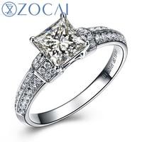 ZOCAI Princess Cut Real 1.0 Ct Main Diamond with 0.20 Ct Side Diamond 18K White Gold Engagement Diamond Ring W03754