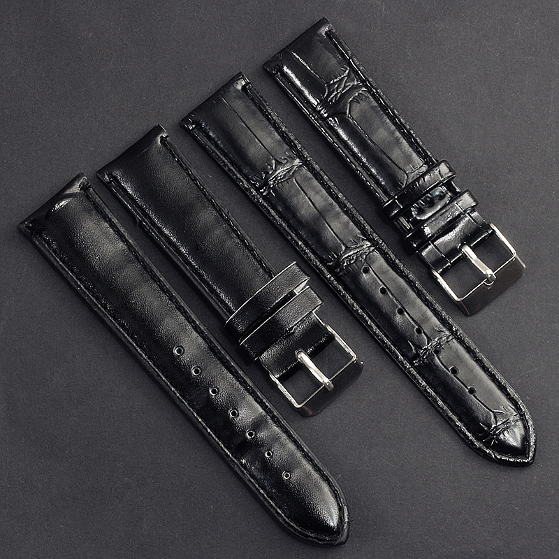 6 Color Fashion Simple Black Brown White Blue Slub Pattern Leather Strap 20mm Men Women Wristwatches Watchbands Pin Buckle Bands