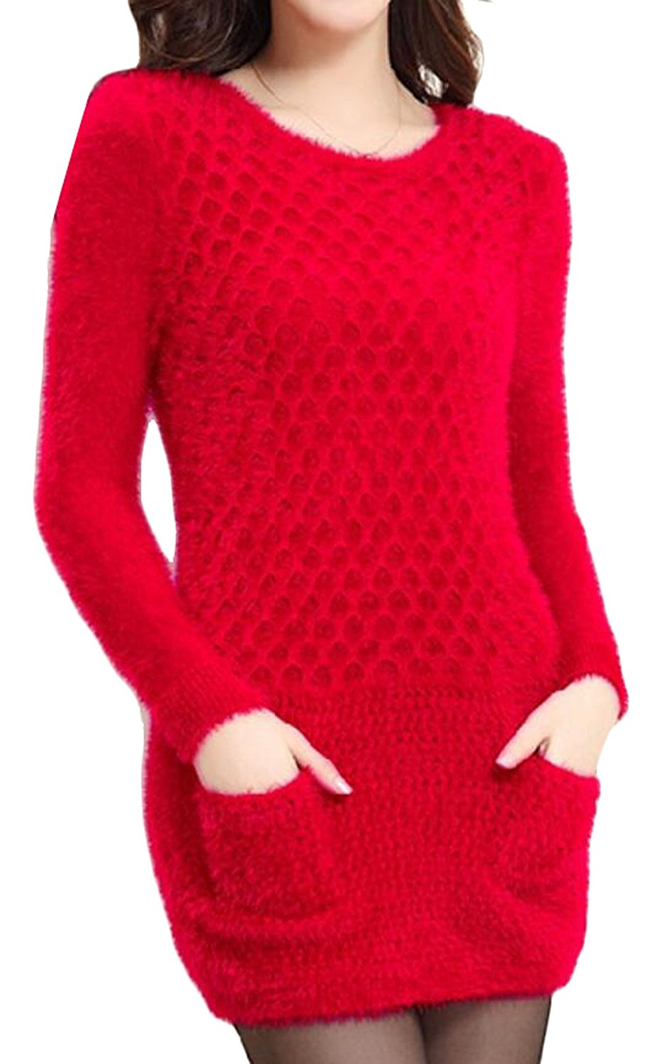 Abetteric Women Sexy Fashion Fluffy Pullover Mohair Sweater-in ...