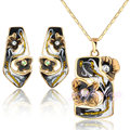 Mytys Retro Vintage Enamel Earrings Necklace Set Jewelry  Yellow Gold Plated N925
