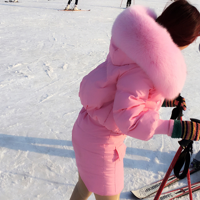 Thailand tide brand custom really large fox fur collar  jacket + skirt suit female warm two pices down suit