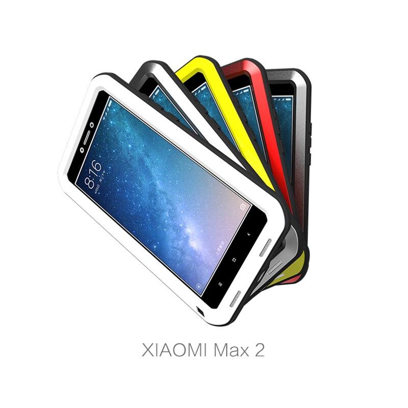 AMOUR MEI En Aluminium En Métal Cas Pour Xiaomi Mi Max 2 Couverture armure Antichoc Boîtier Étanche Pour Xiaomi Mi Max2 Coque + Gorilla verre