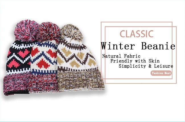 Acrylic Knitted Pattern Women Men Beanie Hat with Pom Pom (6)