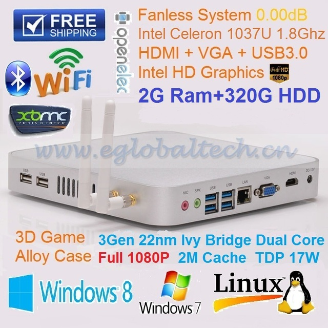 Best Christmas Gift Cheapest Price Mini PC with Intel Celeron 1037U 1.8Ghz 2GB Ram 320G HDD Fanless HTPC UMPC DHL Free Shipping