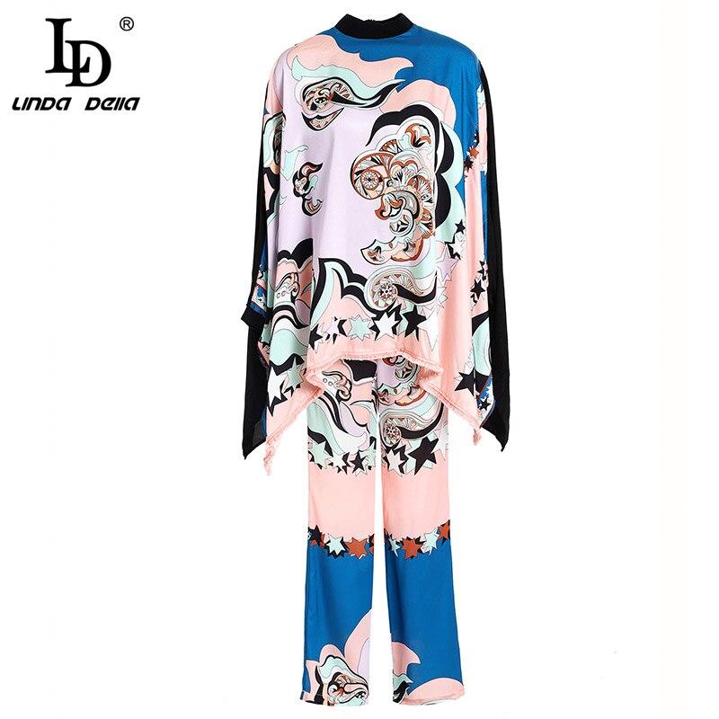 LD LINDA DELLA Fashion Spring Vintage Suits Women s Batwing Sleeve Tassel Tops Geometric Printed Wide