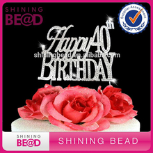 Large Sparkling Silver Rhinestone 40 /& Fabulous  Happy Birthday Cake Topper by Forbes Favors