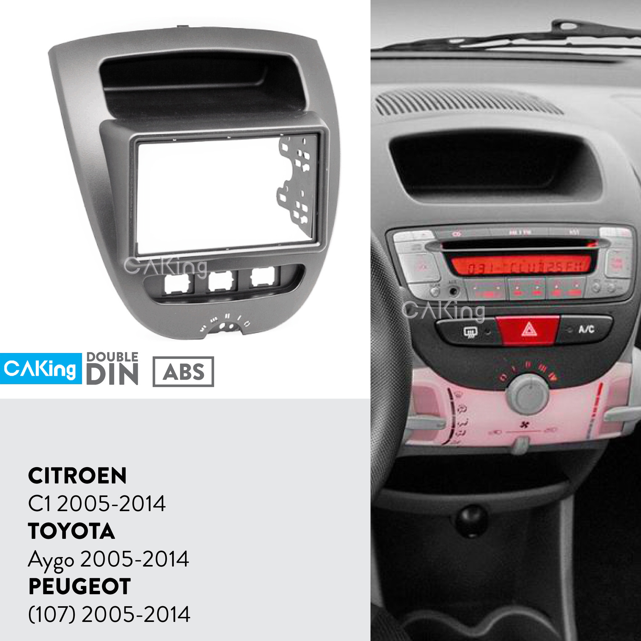 Car Fascia Radio Panel For 2005-2014 Toyota Aygo,Peugeot 107,Citroen C1 Dash Kit Install Facia Plate Adapter Cover Bezel Console