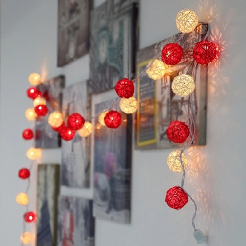 LED String Holiday Decoration Lights 20pcs Red White Rattan Ball Lights AC Plug Wedding Christmas Lights Garlands Drop Shipping