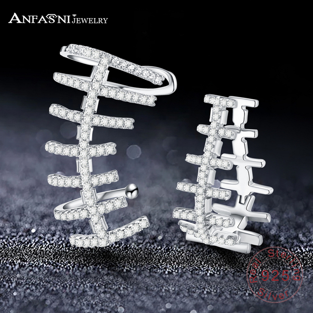 Anfasni Unique Fishbone Earrings For Women Cubic Zirconia Cz Stone Pure 925 Sterling Silver Party