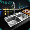 Hello Kitchen Stainless Steel Sink Vessel Kitchen Washing Vegetable Double Bowl SS 128525 111 With Swivel