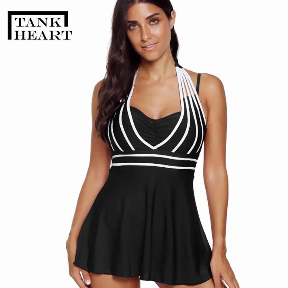 aa8b4ddb864965 Tank Heart Black Red Blue Plus size swimwear large sizes Tankini Swimsuits  Women Two Piece Swimsuit