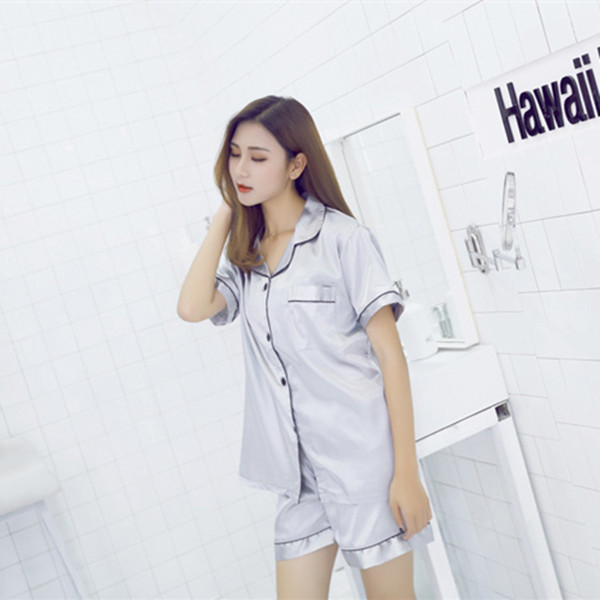 Sexy Pijama M-XXL Plus Size Summer Pijamas Women Short Sleeve Turn-Down Collar Pajama Sets Women Homewear Pyjamas E1088