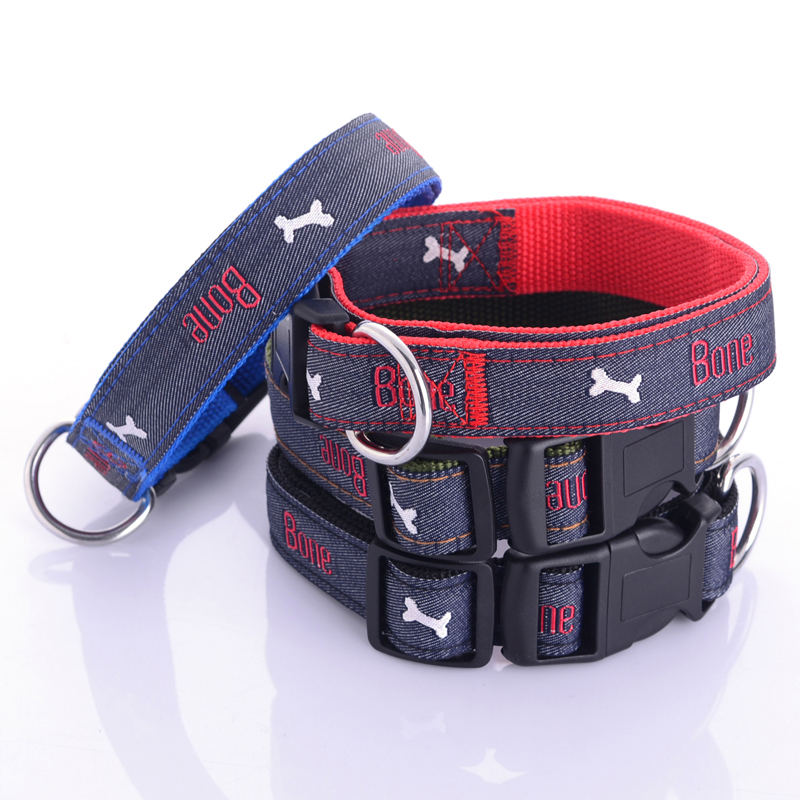Jeans Dog Collar Embroidered Leather Dog Bone Choker Leash For Dogs Necklace Cat Collar For Puppy Little Dog Poodles