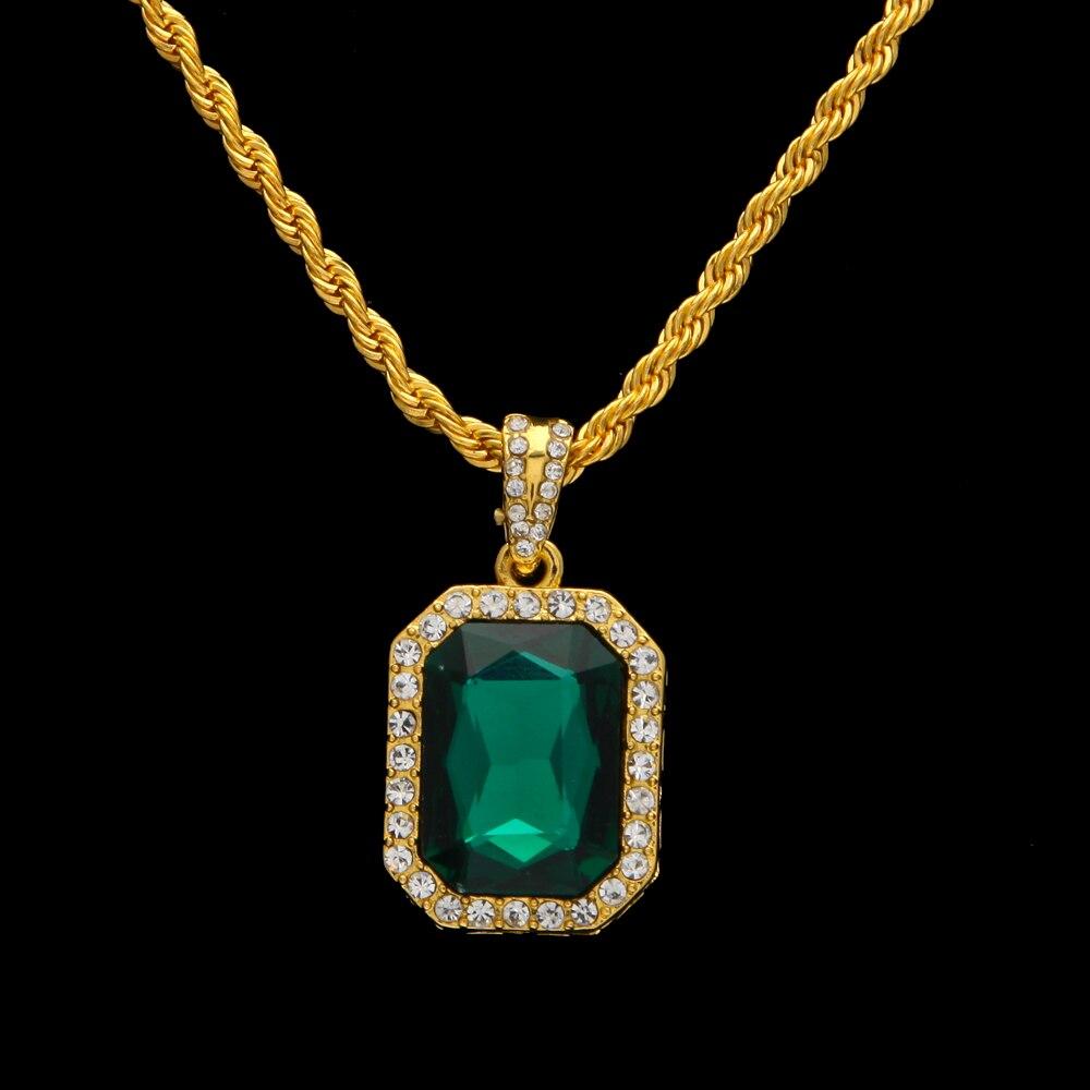 Hip Hop Χρυσό χρώμα Iced Out Rhinestone τετράγωνο - Κοσμήματα μόδας - Φωτογραφία 2