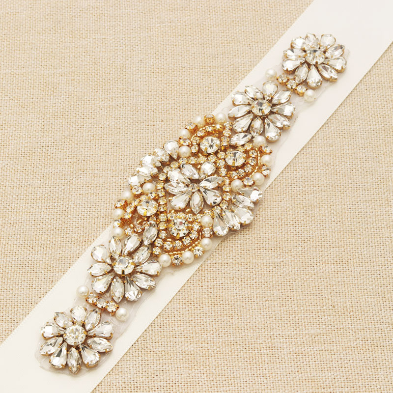 MissRDress Gold Wedding Belt Rhinestones Flower Pearls Bridal Sash Crystal Beads Bridal Belt For Wedding Accessories JK929