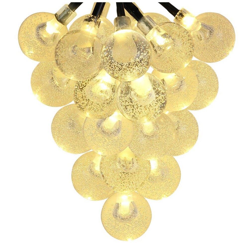 Solar Outdoor String Lights 20ft 30 LED Warm White Crystal Ball Solar Powered Globe Fairy Lights for Garden Fence Path Landscap