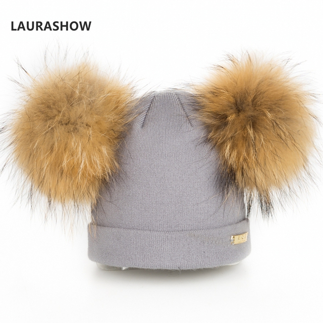 97ab36d438c LAURASHOW 2019 Baby Winter Real Mink Fur Ball Beanie Knit Hat Kids Warm  Raccoon Pompoms Skullies Beanies Wool Cap