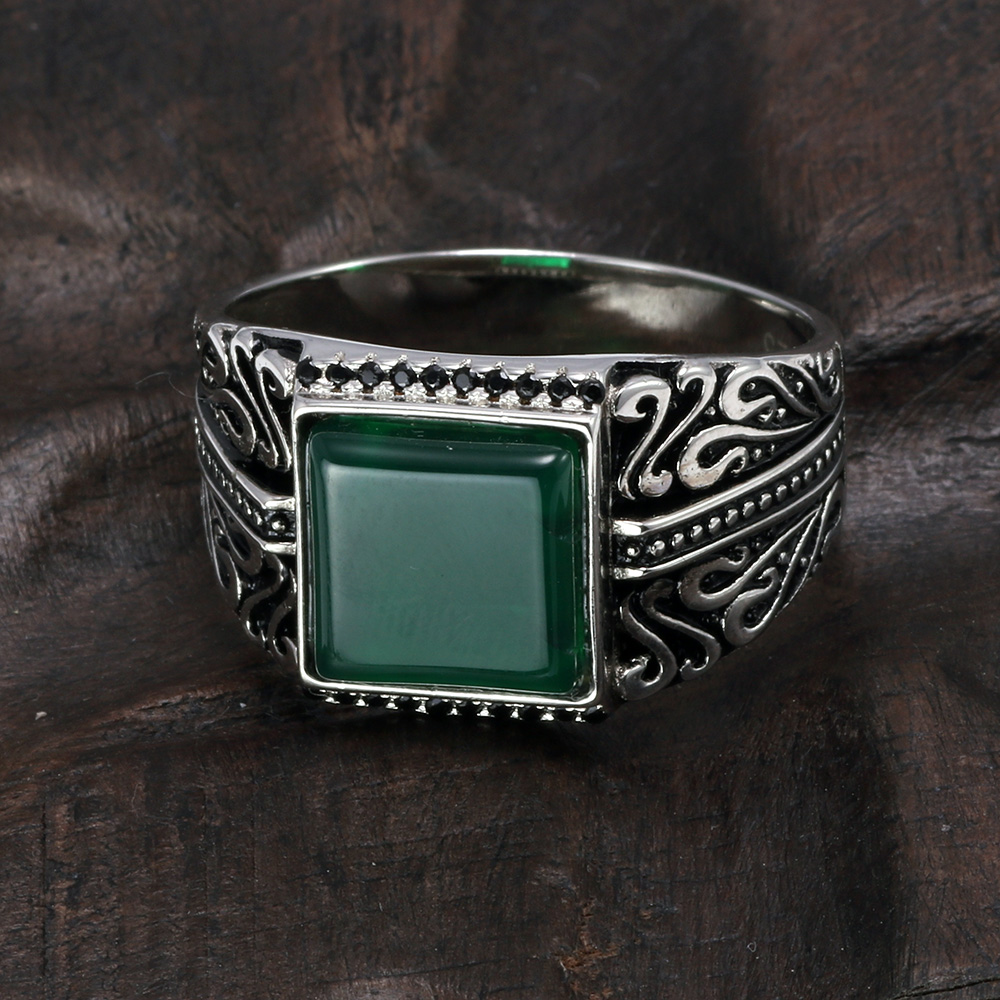925 Sterling Silver Rings Mens Rings Vintage Flower Engraved Black Green Red Imitated Stone Square Shape Punk Turkey Jewelry925 Sterling Silver Rings Mens Rings Vintage Flower Engraved Black Green Red Imitated Stone Square Shape Punk Turkey Jewelry
