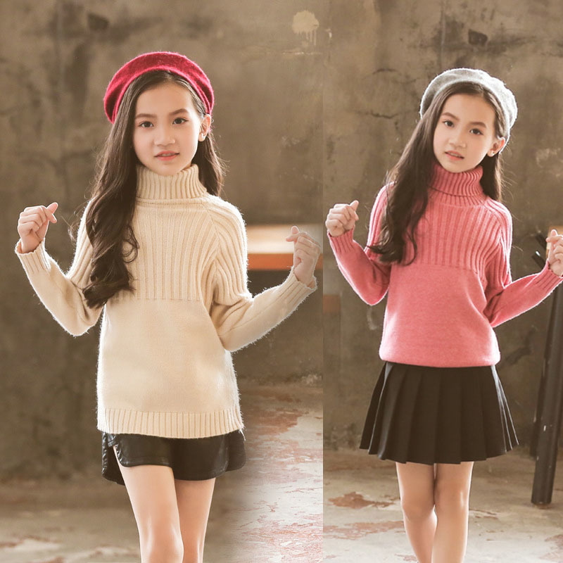 knitted high neck baby girls winter tops long sleeve knitting autumn winter sweater girl black biege pink school clothing 2018 high neck button embellished knitted sweater