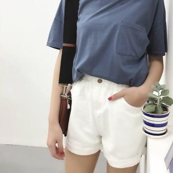 2018 Summer High Waist Denim Shorts Women Casual Loose Ladies Fashion Roll Up Hem Elastic Waist Pocket Blue White Jeans Female 10