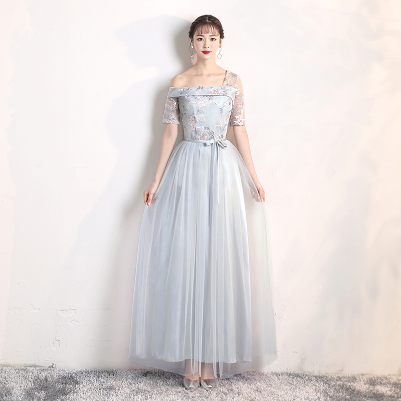 Blue Grey Colour Bridesmaid Dresses Yarn Mesh Embroidery Wedding Dress Party One Shoulder Back Of Bandage