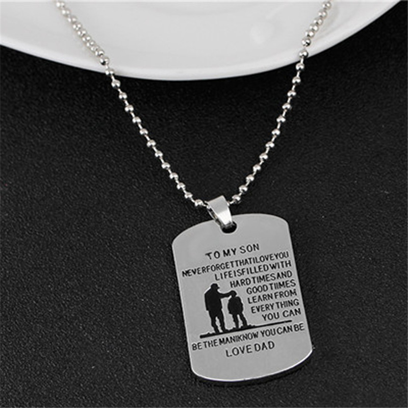 1pc Punk Style Fashion Engraved Character TO MY SON LOVE DAD Father And Son Pendant Necklace Familyship Jewelry Ornaments